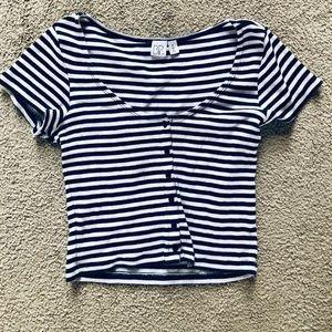BP White / Blue Strip Cropped Top Shirt (Crop Top)